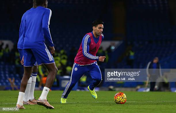 Radamel Falcao of Chelsea takes part in a training session after the Barclays Premier League match between Chelsea and Watford at Stamford Bridge on...