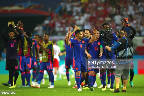 Radamel Falcao of Colombia and his teammates celebrate at the end of the 2018 FIFA World Cup Russia group H match between Poland and Colombia at...