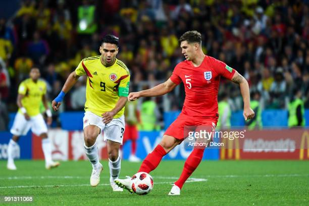 Radamel Falcao of Colombia and John Stones of England during the 2018 FIFA World Cup Russia Round of 16 match between Colombia and England at Spartak...