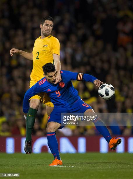 Radamel Falcao of Colombia and Milos Degenek of Australia in action during the International Friendly match between Australia and Colombia at Craven...