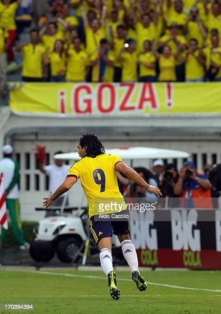 Radamel Falcao of Colombia celebrates a goal during a match between Colombia and Peru as part of the South American Qualifiers for the FIFA's World...