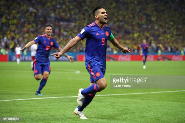 Radamel Falcao of Colombia celebrates after scoring his team's second goal during the 2018 FIFA World Cup Russia group H match between Poland and...