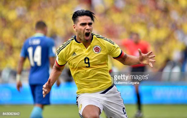 Radamel Falcao of Colombia celebrates after scoring the equalizer during a match between Colombia and Brazil as part of FIFA 2018 World Cup...