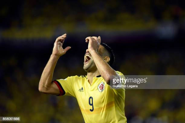 Radamel Falcao of Colombia celebrates after scoring the opening goal during a match between Colombia and Paraguay as part of FIFA 2018 World Cup...