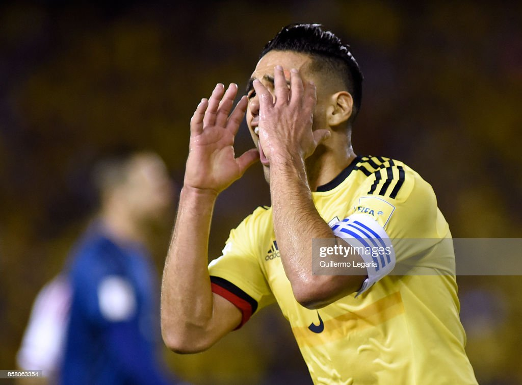 Radamel Falcao of Colombia celebrates after scoring the opening goal during a match between Colombia and Paraguay as part of FIFA 2018 World Cup Qualifiers at Metropolitano Roberto Melendez Stadium on October 05, 2017 in Barranquilla, Colombia.