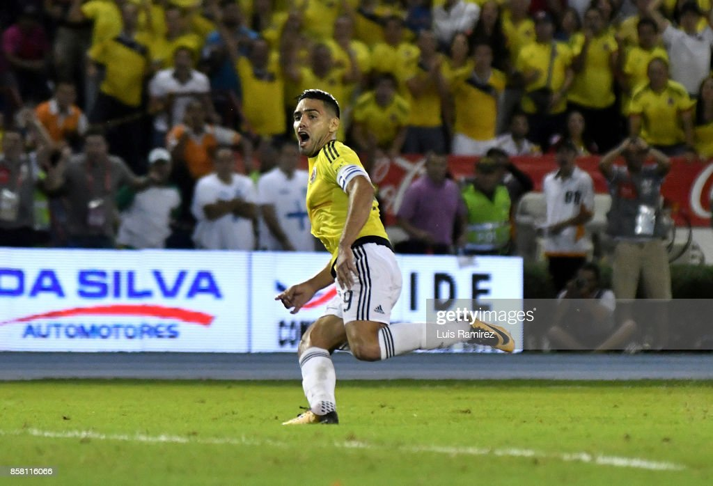Radamel Falcao, of Colombia, celebrates after scoring the opening goal during a match between Colombia and Paraguay as part of FIFA 2018 World Cup Qualifiers at Metropolitano Roberto Melendez Stadium on October 5, 2017 in Barranquilla, Colombia.