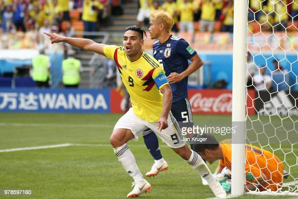Radamel Falcao of Colombia celebrates after teammate Juan Quintero scores their sides first goal during the 2018 FIFA World Cup Russia group H match...