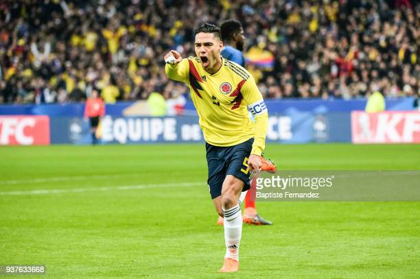 Radamel Falcao of Colombia celebrates his goal during the International friendly match between France and Colombia on March 23 2018 in Paris France