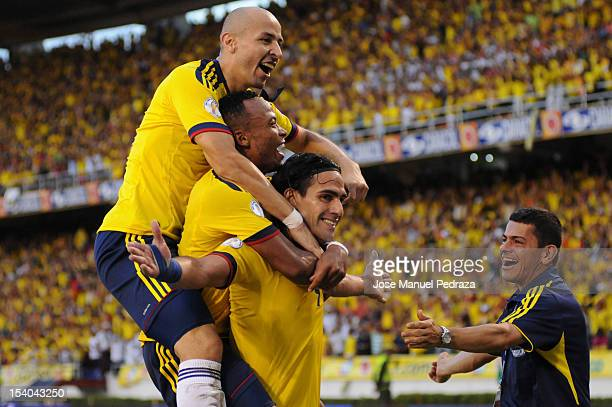 Radamel Falcao of Colombia celebrates the second goal of Colombia during a match between Colombia and Paraguay as part of the South American...