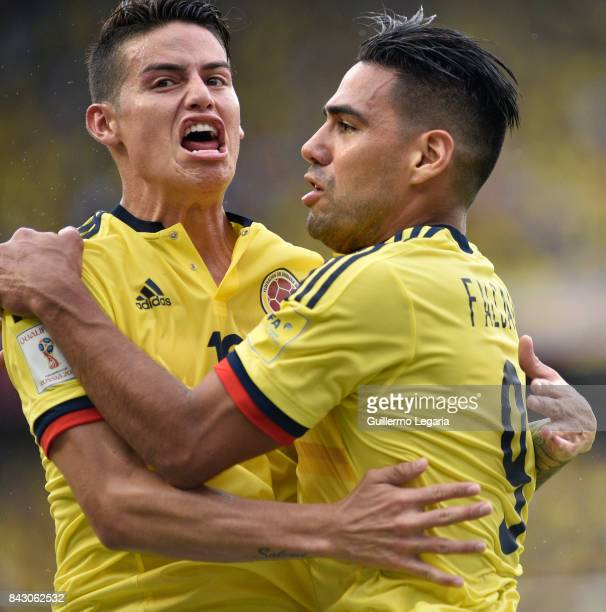 Radamel Falcao of Colombia celebrates with James Rodriguez after scoring the equalizer during a match between Colombia and Brazil as part of FIFA...