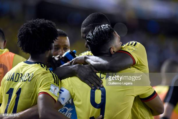 Radamel Falcao of Colombia celebrates with teammates after scoring the opening goal during a match between Colombia and Paraguay as part of FIFA 2018...