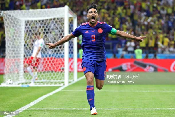 Radamel Falcao of Colombia celebrates with teammates after scoring his team's second goal during the 2018 FIFA World Cup Russia group H match between...