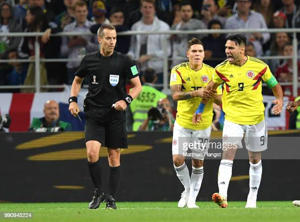 Radamel Falcao of Colombia confronts referee Mark Geiger during the 2018 FIFA World Cup Russia Round of 16 match between Colombia and England at...