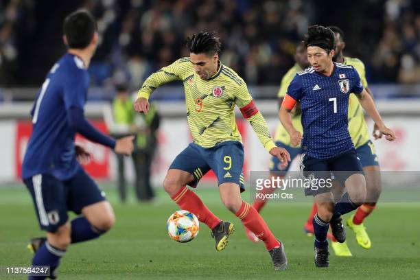 Radamel Falcao of Colombia in action during the international friendly match between Japan and Colombia at Nissan Stadium on March 22 2019 in...