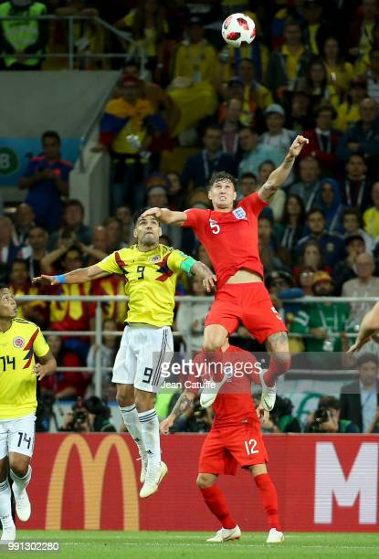 Radamel Falcao of Colombia John Stones of England during the 2018 FIFA World Cup Russia Round of 16 match between Colombia and England at Spartak...
