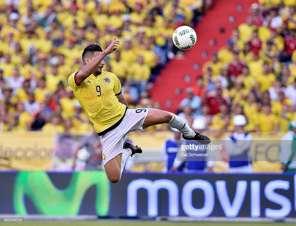 Radamel Falcao of Colombia jumps for the ball during a match between Colombia and Chile as part of FIFA 2018 World Cup Qualifiers at Metropolitano Roberto Melendez Stadium on November 10, 2016 in Barranquilla, Colombia.
