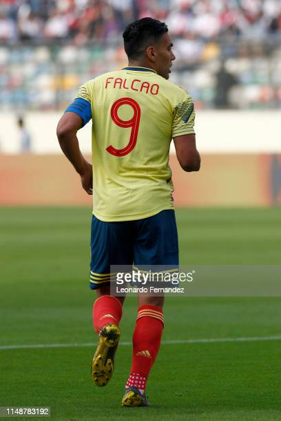 Radamel Falcao of Colombia looks on during a friendly match between Peru and Colombia at Estadio Monumental de Lima on June 9 2019 in Lima Peru