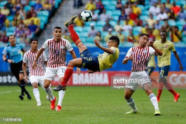 Radamel Falcao of Colombia makes an overhead kick during the Copa America Brazil 2019 group B match between Colombia and Paraguay at Arena Fonte Nova...