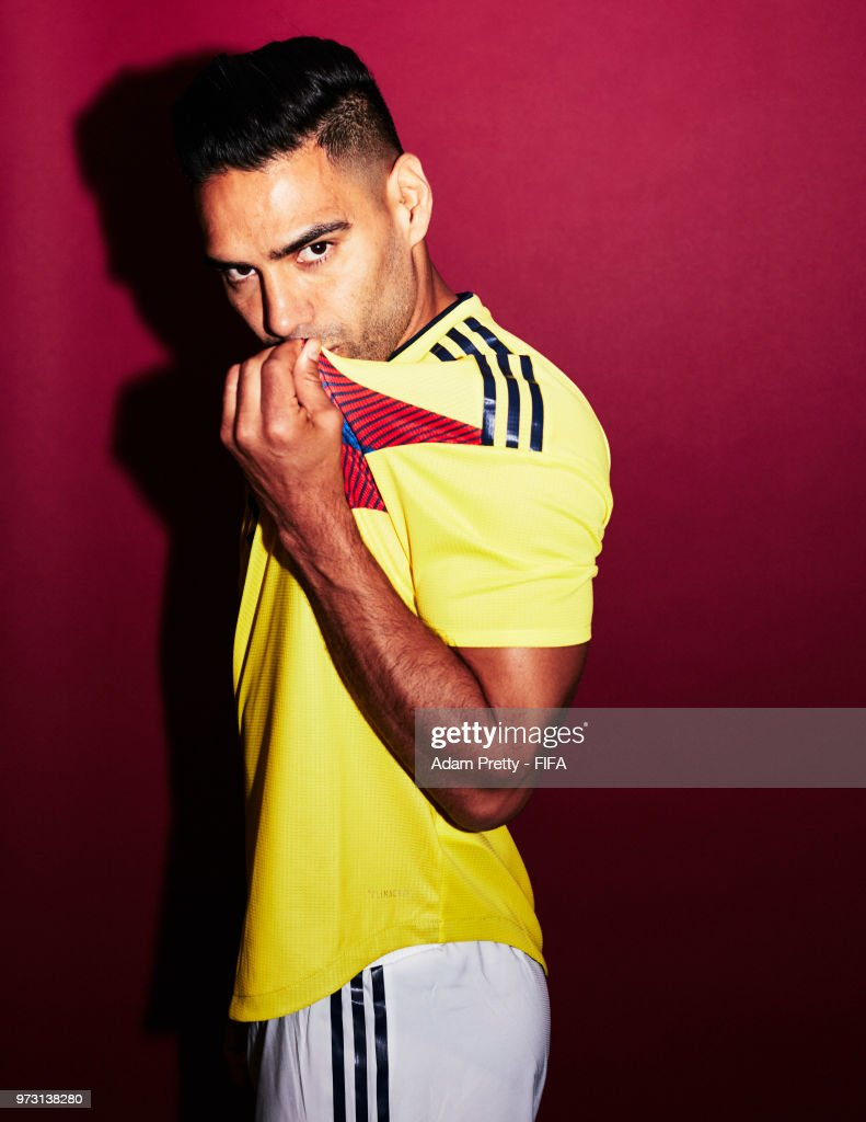Radamel Falcao of Colombia poses for a portrait during the official FIFA World Cup 2018 portrait session at Kazan Ski Resort on June 13, 2018 in Kazan, Russia.