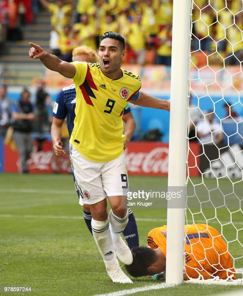 Radamel Falcao of Colombia reacts after Eiji Kawashima of Japan saves the ball over the goal line during the 2018 FIFA World Cup Russia group H match...