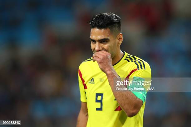 Radamel Falcao of Colombia reacts during the 2018 FIFA World Cup Russia Round of 16 match between Colombia and England at Spartak Stadium on July 3...