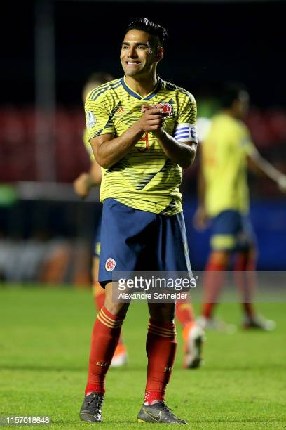 Radamel Falcao of Colombia reacts during the Copa America Brazil 2019 group B match between Colombia and Qatar at Morumbi Stadium on June 19, 2019 in...