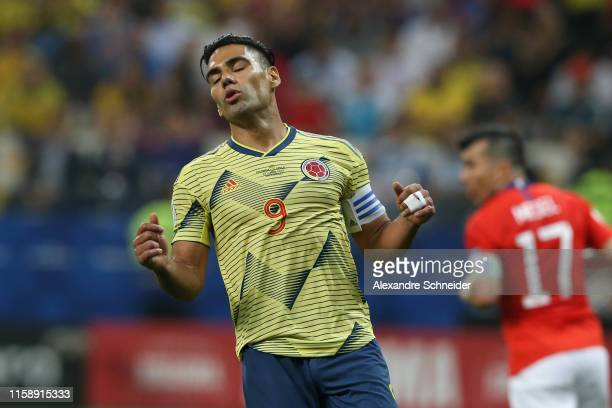 Radamel Falcao of Colombia reacts during the Copa America Brazil 2019 quarterfinal match between Colombia and Chile at Arena Corinthians on June 28,...