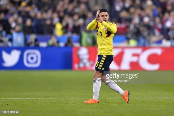 Radamel Falcao of Colombia reacts during the international friendly match between France and Colombia at Stade de France on March 23 2018 in Paris...
