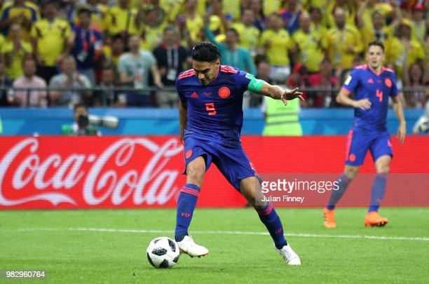 Radamel Falcao of Colombia scores his team's second goal during the 2018 FIFA World Cup Russia group H match between Poland and Colombia at Kazan...