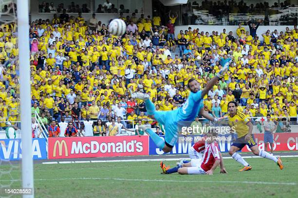 Radamel Falcao of Colombia shoots for a goal during a match between Colombia and Paraguay as part of the South American Qualifiers for the FIFA...