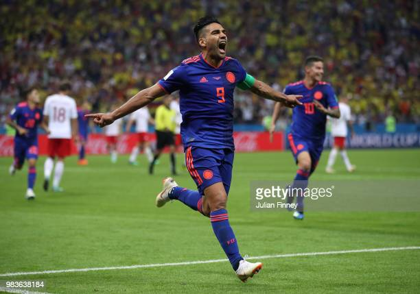 Radamel Falcao of Columbia celebrates scoring his teams second goal during the 2018 FIFA World Cup Russia group H match between Poland and Colombia...