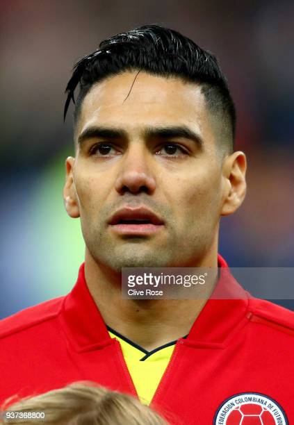 Radamel Falcao of Columbia looks on prior to the International friendly match between France and Columbia at Stade de France on March 23 2018 in...