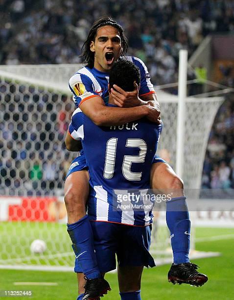 Radamel Falcao of FC Porto celebrates with Givalnildo Vieira 'Hulk' after scoring his side third goal during the UEFA Europa League semi final first...