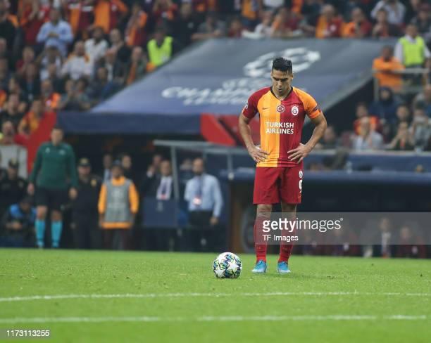 Radamel Falcao of Galatasaray looks on during the UEFA Champions League group A match between Galatasaray and Paris Saint-Germain at Turk Telekom...