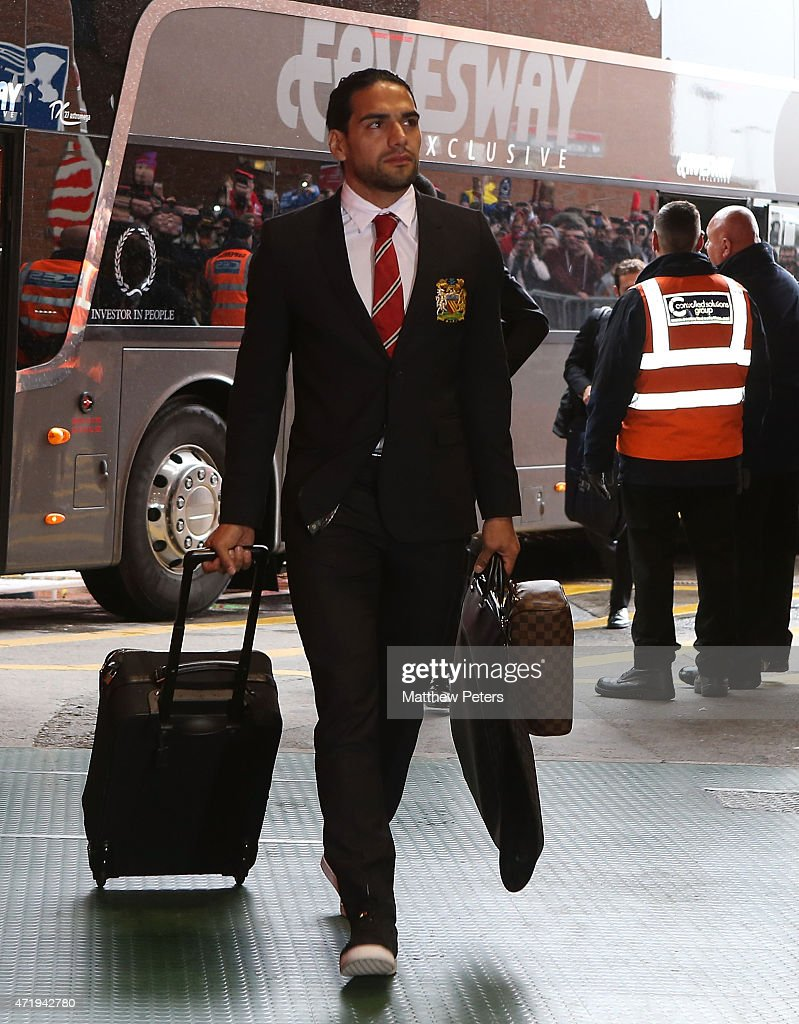 Radamel Falcao of Manchester United arrives at Old Trafford ahead of the Barclays Premier League match between Manchester United and West Bromwich Albion at Old Trafford on May 2, 2015 in Manchester, England.