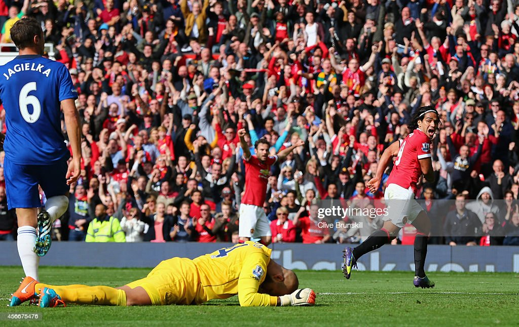 Radamel Falcao of Manchester United celebrates scoring his team's second goal during the Barclays Premier League match between Manchester United and Everton at Old Trafford on October 5, 2014 in Manchester, England.