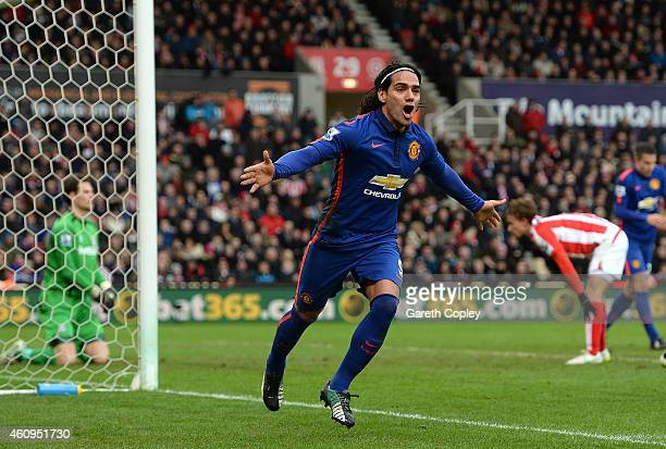 Radamel Falcao of Manchester United celebrates scoring his team's first goal during the Barclays Premier League match between Stoke City and...