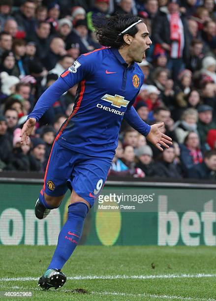 Radamel Falcao of Manchester United celebrates scoring their first goal during the Barclays Premier League match between Stoke City and Manchester...