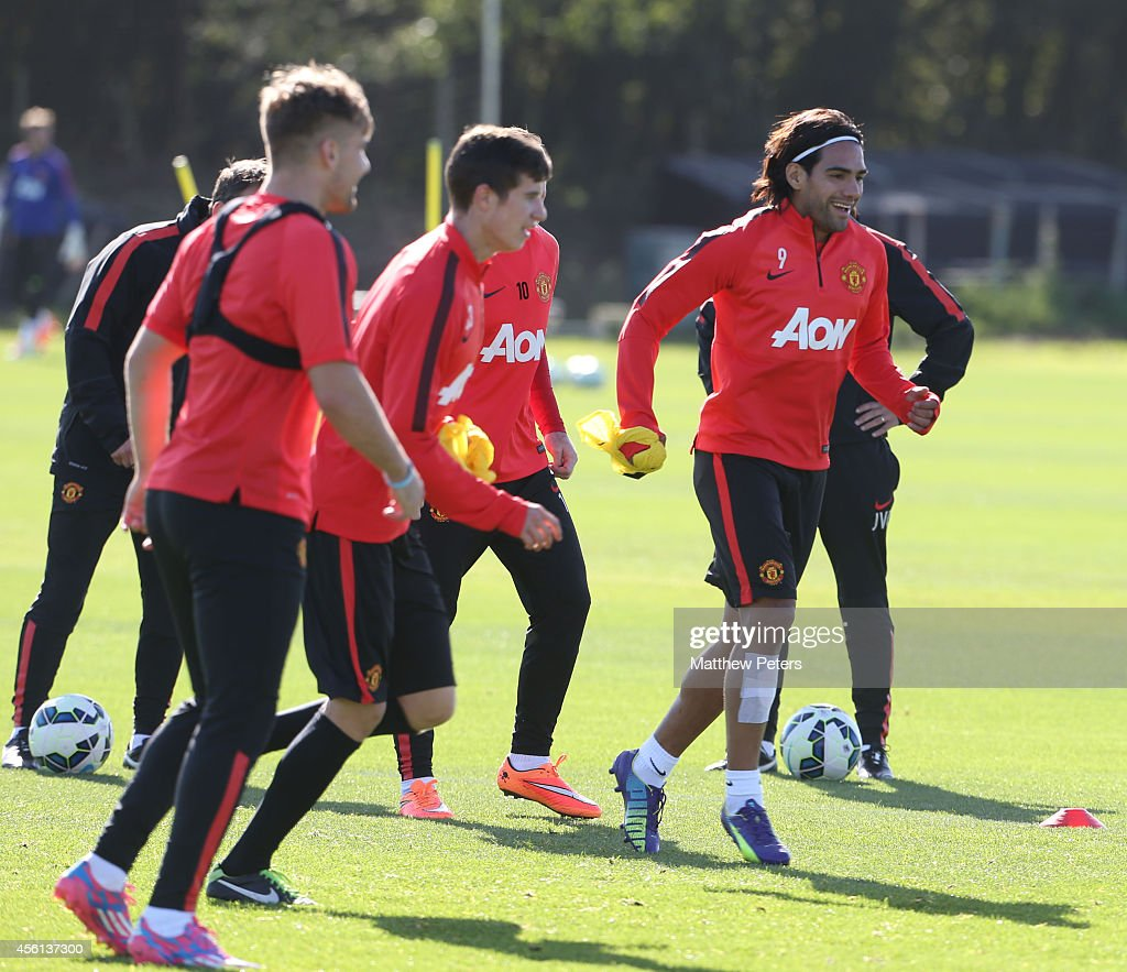 Radamel Falcao of Manchester United in action during a first team training session at Aon Training Complex on September 26, 2014 in Manchester, England.