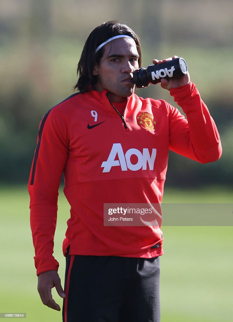 Radamel Falcao of Manchester United in action during a first team training session at Aon Training Complex on October 2, 2014 in Manchester, England.