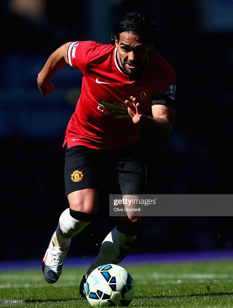 Radamel Falcao of Manchester United in action during the Barclays Premier League match between Everton and Manchester United at Goodison Park on April 26, 2015 in Liverpool, England.