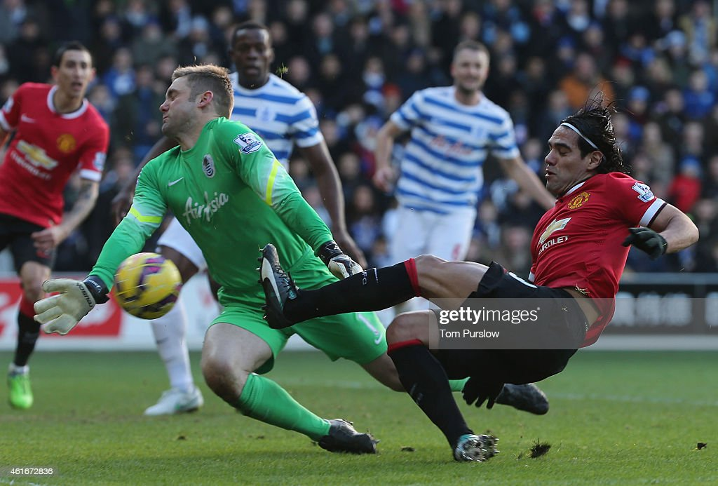 Radamel Falcao of Manchester United in action with Robert Green of Queens Park Rangers during the Barclays Premier League match between Queens Park Rangers and Manchester United at Loftus Road on January 17, 2015 in London, England.