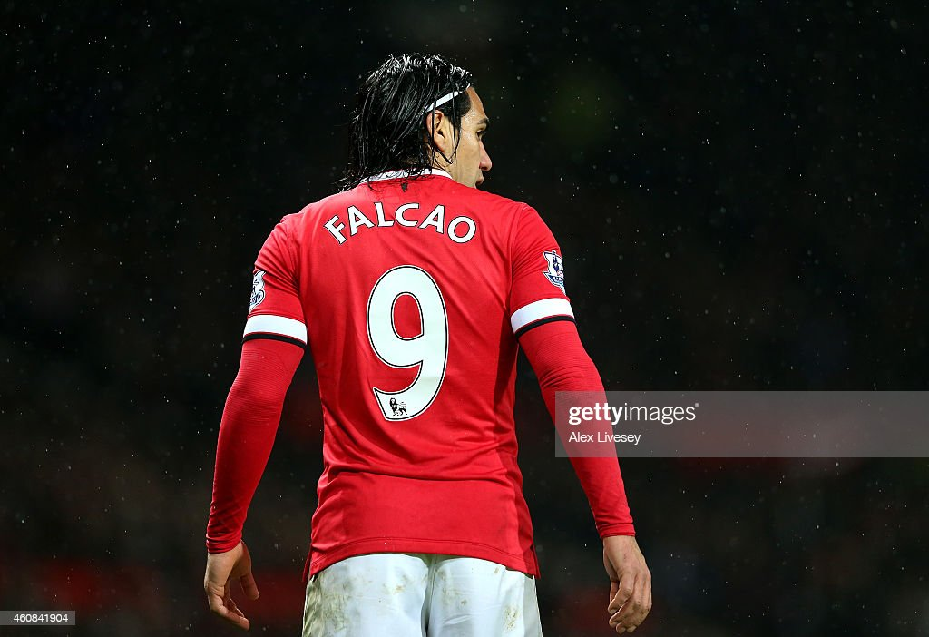 Radamel Falcao of Manchester United looks on during the Barclays Premier League match between Manchester United and Newcastle United at Old Trafford on December 26, 2014 in Manchester, England.