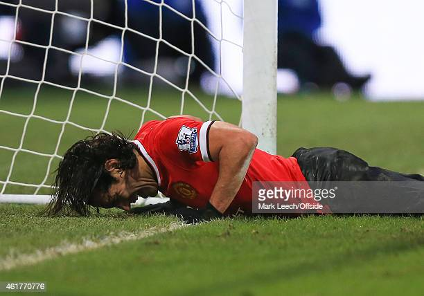 Radamel Falcao of Manchester United reacts after failing to connect with a 3rd good chance in front of goal during the Barclays Premier League match...