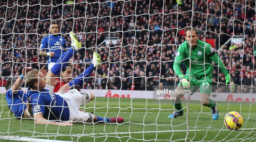 Radamel Falcao of Manchester United scores their second goal during the Barclays Premier League match between Manchester United and Leicester City at Old Trafford on January 31, 2015 Manchester, England.