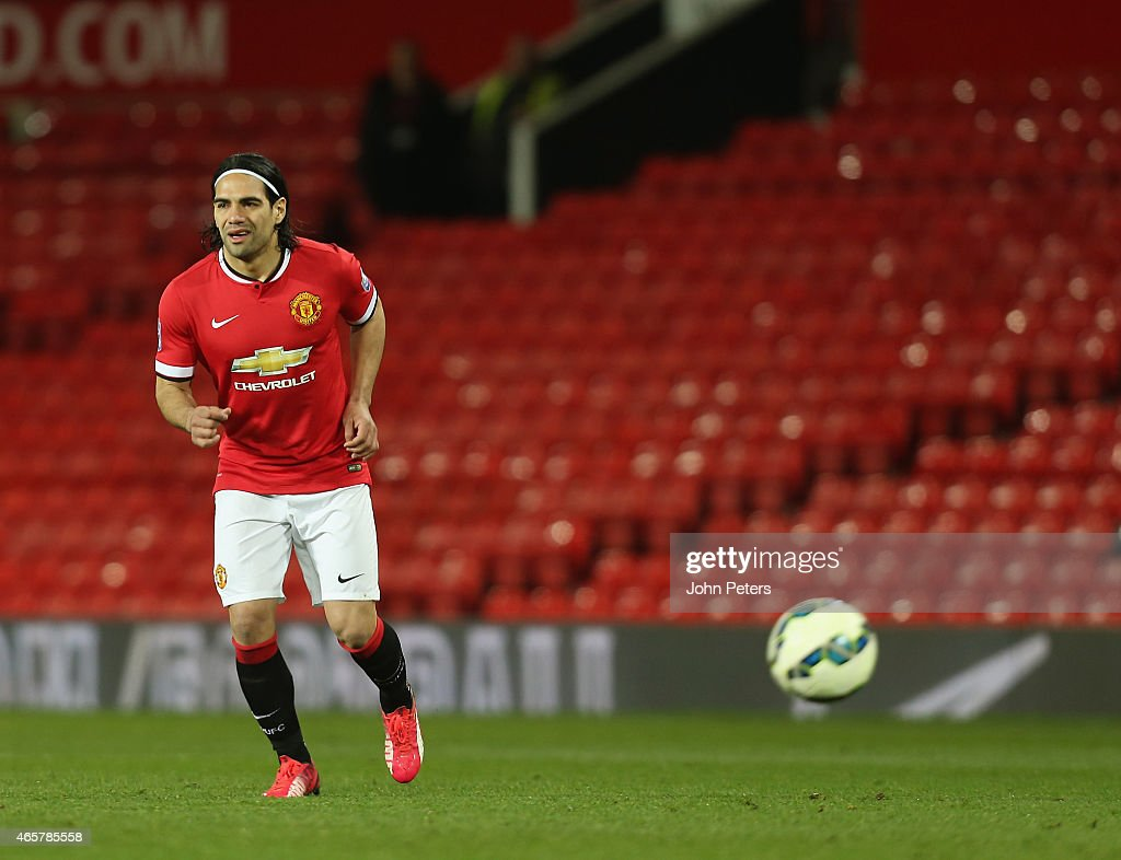 Radamel Falcao of Manchester United U21s in action during the Barclays U21 Premier League match between Manchester United U21s and Tottenham Hotspur U21s at Old Trafford on March 10, 2015 in Manchester, England.