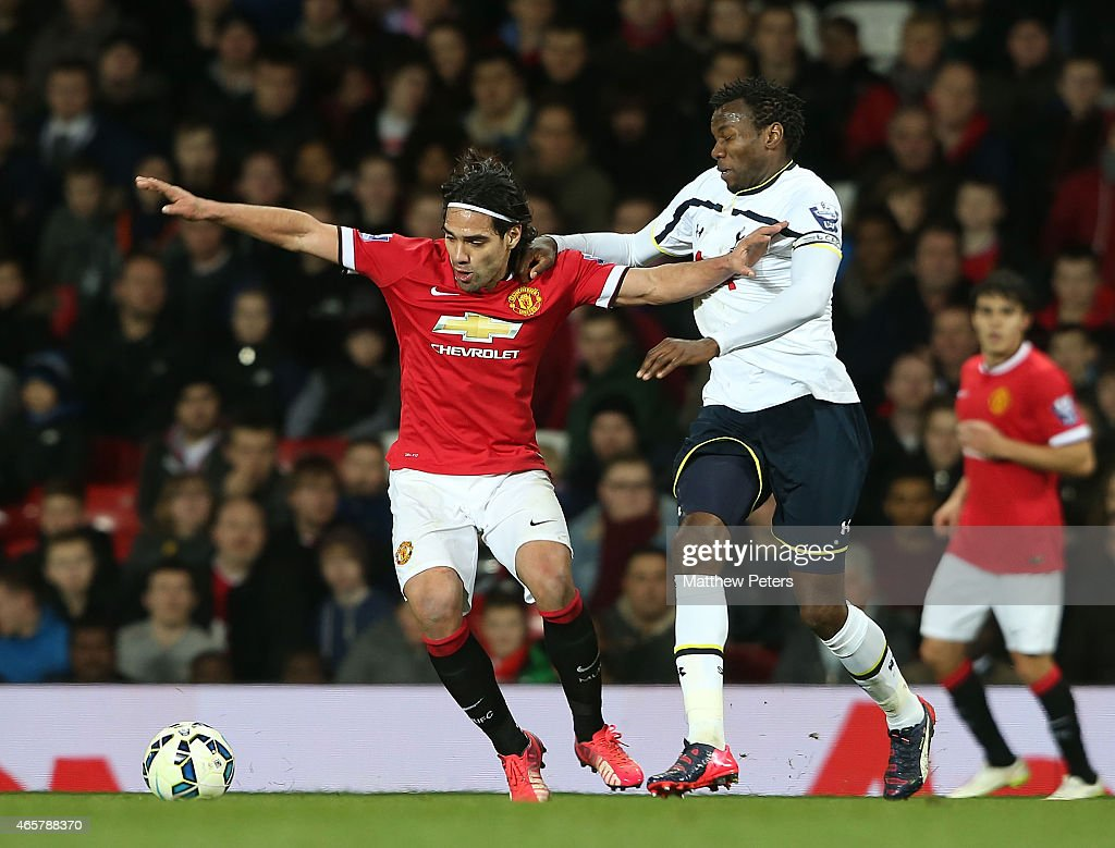 Radamel Falcao of Manchester United U21s in action with Bongani Khumalo of Tottenham Hotspur U21s during the Barclays U21 Premier League match between Manchester United and Tottenham Hotspur at Old Trafford on March 10, 2015 in Manchester, England.