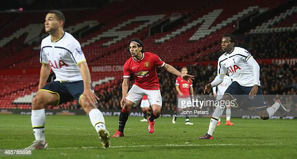 Radamel Falcao of Manchester United U21s in action with Cameron Carter-Vickers and Bongani Khumalo of Tottenham Hotspur U21s during the Barclays U21...