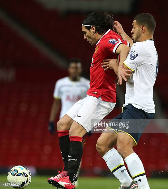 Radamel Falcao of Manchester United U21s in action with Cameron Carter-Vickers of Tottenham Hotspur U21s during the Barclays U21 Premier League match...