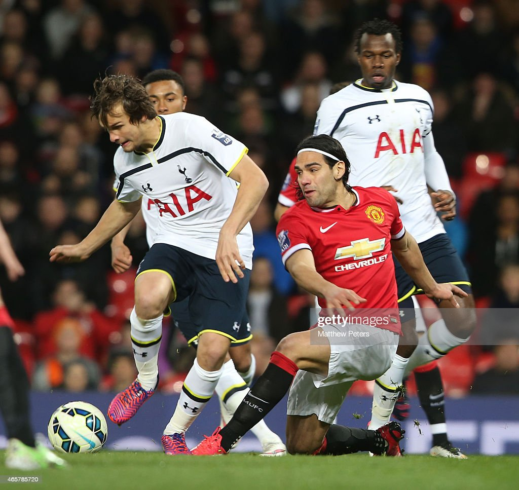 Radamel Falcao of Manchester United U21s in action with Grant Ward of Tottenham Hotspur U21s during the Barclays U21 Premier League match between Manchester United and Tottenham Hotspur at Old Trafford on March 10, 2015 in Manchester, England.